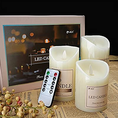 YIER LED 3 x Christmas Real Like Flickering Candles Battery Operated with Remote Control
