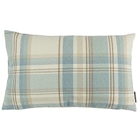 McAlister Textiles Heritage   Small Soft Wool Feel Woven Tartan Check Tweed Pale Duck Egg Blue Pillow Cases   50x30cm 20 Inch x 12
