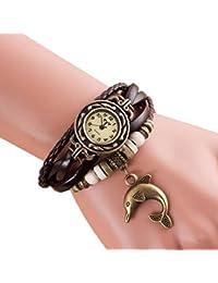 Sannysis® Cuarzo Weave Alrededor del cuero del delfín pulsera de señora Woman reloj de pulsera