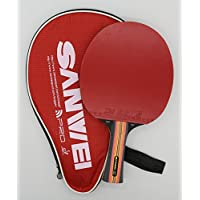Sanwei TS7 Club Table Tennis Bat with Case - 5 ply black Ayous Wood - Ping Pong Racket Paddle - ITTF Competition approved rubbers - Comfortable Handle - Includes Bat Case