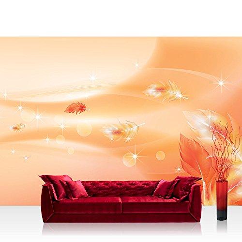 Vlies Fototapete 350x245 cm PREMIUM PLUS Wand Foto Tapete Wand Bild Vliestapete - Ornamente Tapete Abstrakt Perle Feder Stern Welle Muster orange - no. 850 -