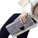 ALAIX Damen Clutch Schultertasche Abendhandtasche Leder Umhängetasche mit Zusatzkette Grau