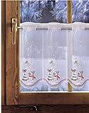 Bestickte Scheibengardine WINTERZAUBER 35cm / 55cm hoch Plauener Spitze, Weihnachtsgardine, Weihnachtsdeko