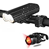 HiCool LED Bike Light Set Super Bright Bicycle Headlight and Rear Light USB Rechargeable 4 Lighting Models IP-65 Waterproof 2000 Lumen 2 Brackets Fits All Road Bicycles Mountain Bikes Camping Kids and Used as Emergency Flashlight