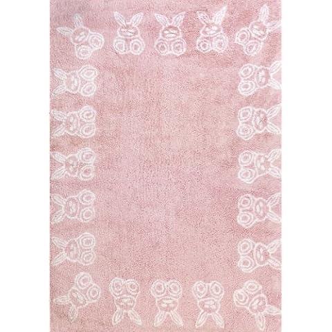 Aratextil. Alfombra Infantil 100% Algodón lavable en lavadora Colección Conejitos Rosa 120x160 cms