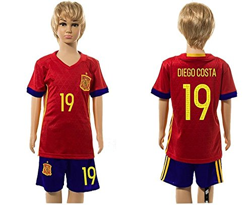 Top Venta de España 19Conjuntos de Diego Costa Home para niños Kid jóvenes de fútbol jersey en rojo, Infantil, rojo, medium
