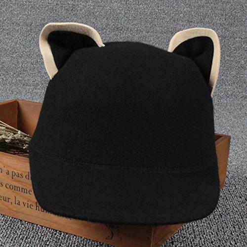 FQG*genitore-bambino gatti cuscinetti in lana per bambini? Ragazze cappelli, in autunno e in inverno il bambino cappello equestre knight cap ,51-54cm- nero