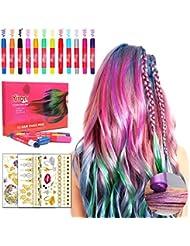 Craie À Cheveux Accessoire de Cheveux kit 12 stylos Lavable Coloration temporaire de Craie jetable instantanée 3 Feuilles De Tatouage Temporaire Métallique,Cadeaux pour Filles
