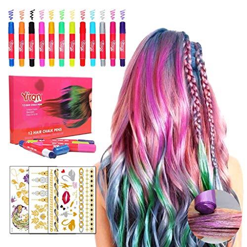 Gessi capelli colorati 12 gessetti per capelli+3 fogli Metallici per tatuaggio temporaneo Colori temporanei capelli Trucco capelli bambini Gesso per