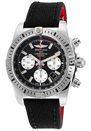 Breitling Herren Chronomat 4444mm schwarz Leinwand Band Stahl Fall Automatische Analog Armbanduhr ab01154g-bd13ms