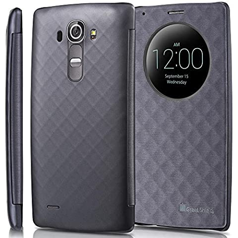 GreatShield LG G4 Case - [SHIFT LX] [Quick Circle Window Cut-Out] Diamond Pattern with Sleep/Wake Function Draw Bench PU Leather Flip Cover for LG G4 H815 2015 (Metallic Gray)