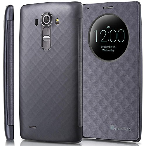 LG G4 Quick Circle Schutzhülle Case, GreatShield [SHIFT LX] Premium Flip Diamant Muster Schutzhülle mit Sichtfenster und Auto Wakeup/Sleep Funktion für LG G4 Smartphone (Grau)