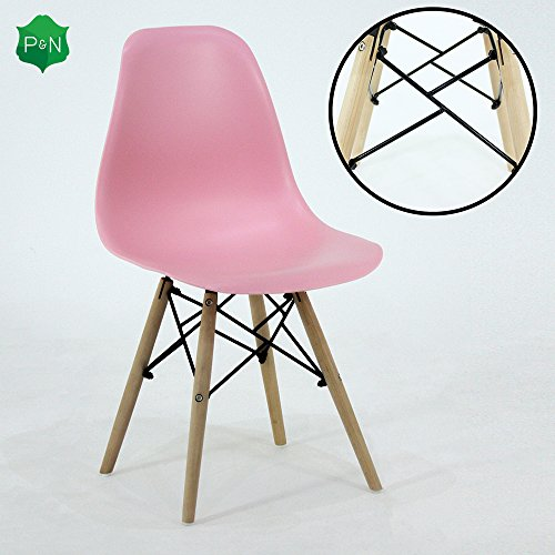 P & N Homewares® Romano DS Moda Stuhl Kunststoff Holz Retro Esszimmer Stühle Weiß Schwarz Grau Rot Gelb Rosa Grün Blau (Rosa)
