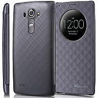 LG G4 Quick Circle, GreatShield [SHIFT LX] [Finestra Tagliare-Su] Diamante Modello con Sleep/Wake PU Pelle Custodia Copertina per LG G4 (Grigio