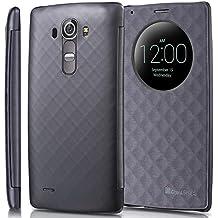 LG G4 Quick Circle Funda - GreatShield [LX SHIFT] alta calidad De cuero del tirón Cubierta con el sueño y la vigilia función para LG G4 (Gris)