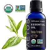 Aetos Bio Teebaumöl, USDA zertifiziert biologischen ätherischen Ölen, nicht GVO, 100% reinen, natürlichen, therapeutische Grade ätherisches Öl, Best Aromatherapie scented-oils für Zuhause, Büro, Persönlichen Gebrauch–1oz