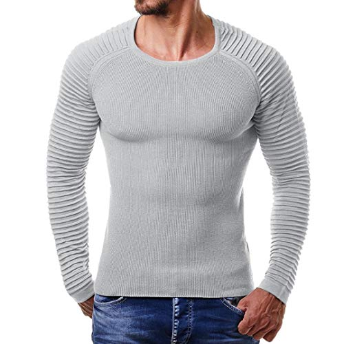 Honestyi Herren Sweatshirt CareMänner Herbst Winter gestreifte Drape Stricken Lange Ärmel T-Shirt Top Bluse -