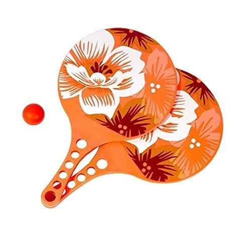 Lively Moments Ballon de plage / Jeu de balle plage / Jeu de plage en orange avec fleurs d'hibiscus - 2 RAQUETTE ET 1 balle
