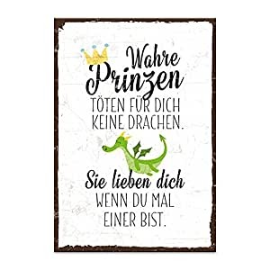 holzschild mit spruch wahre prinzen t ten f r dich keine. Black Bedroom Furniture Sets. Home Design Ideas
