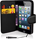 Mobile-Heaven Apple iPhone 4 4S Premium Black PU Leather Flip Wallet Case Cover Pouch Includes Screen Protector And Stylus Pen