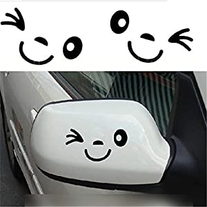 2 Stück Lächeln Gesicht Design 3D Aufkleber Dekoration Aufkleber für Auto Seitenspiegel Autorearview Schwarz
