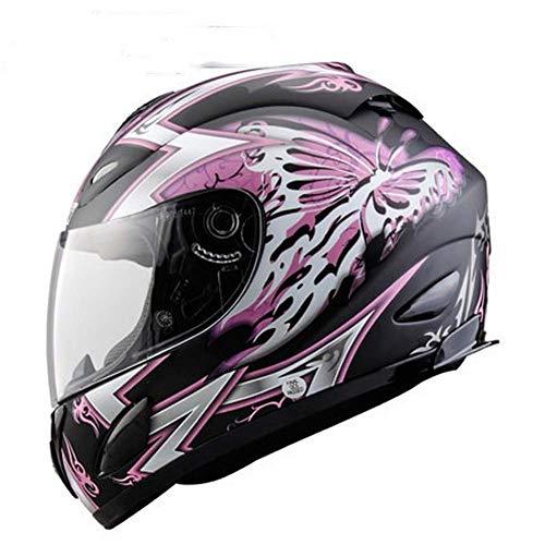 YXCXY-motorradhelm Motorradhelm Männer Und Frauen Integralhelm Vier Jahreszeiten Racing Motorrad Anti-fog Helm Full Cover (Schwarz lila,L)