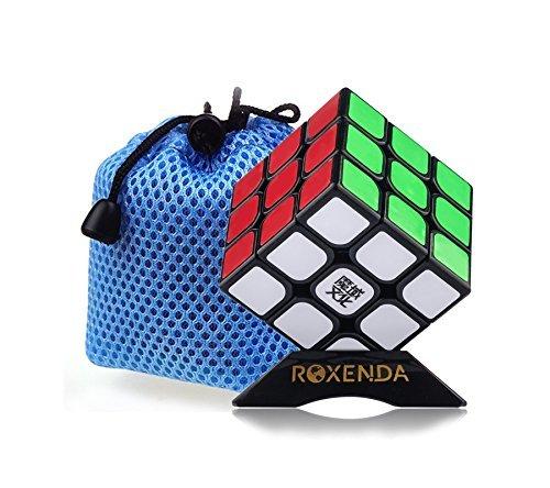 Roxenda Moyu Aolong profesional Cubo Mágico 3x3x3 Puzzle cubo de la velocidad V2 juguetes clásicos (Black)