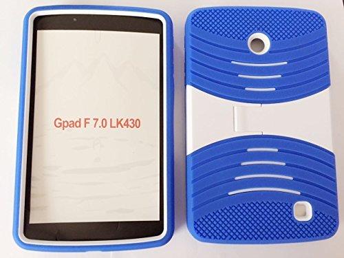 LG G Pad f 17,8cm Zoll Fall, bny-Wireless (TM) Rugged High Impact Hybrid Drop Proof Armor Defender Ganzkörper Schutz Fall Cabrio in Eingebaute Ständer für LG G Pad f 17,8cm Zoll LK430-Blau Weiß (7-zoll-tablet-fall Verizon)