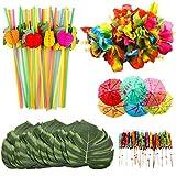 OOTSR 108 piezas de decoración de fiesta tropical con hojas de palmera de simulación, flores de...