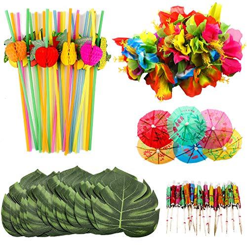 he Partydekorationen, umfassen Simulation Palmblätter, Seiden-Hibiskus-Blumen, Mini-Regenschirm-Zahnstocher, 3D-Fruchtstrohe für Hawaiianische Luau-Party Tischdekorationen ()