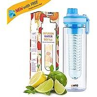 EMPO Bouteille avec Infuseur à Fruits 750ml/27oz - Sans BPA Tritan Bouteille de Sport - Body Nutrition Protéine Shaker Idéal pour Vélo et Gym - Durable et légère - Azure Bleu