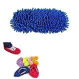 GOOTRADES 5 Stk Hausschuhe mit Wischmopp Optik Ca. 21cmx11cm - Bad Büro Küche Reinigen, Blau