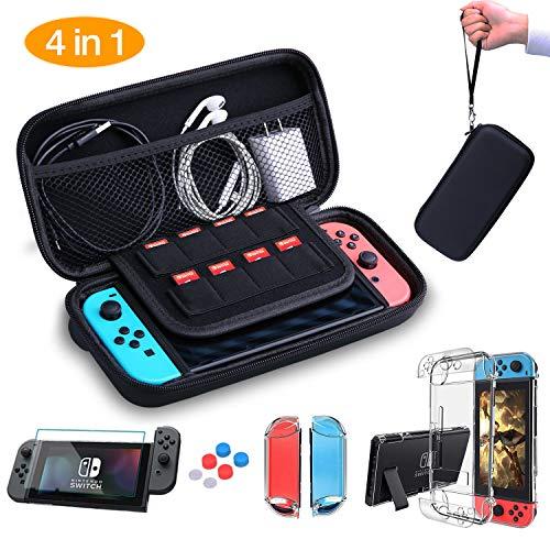 HEYSTOP 4-en-1 Nintendo switch maleta de transporte-diseñado con un montón de espacio para sostener su consola Nintendo switch, tarjetas de juego, Joy-cons, Joy-con correas, cables, auriculares, adaptador de CA y otros accesorios.  con su gran capaci...