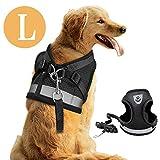 DAMIGRAM Hundegeschirr Geschirr Verstellbar, Powergeschirr Brustgeschirr für aktive Hunde, Hundegeschirr Reflektierend Air Mesh, Brustgeschirr Weste für Training oder Walking (L)