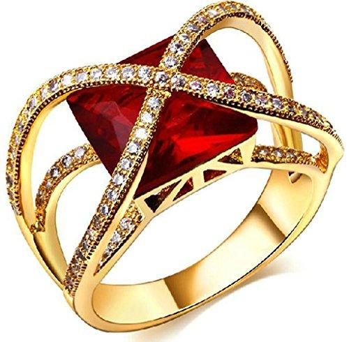 18k Vergoldet Ringe, Damen Hochzeit Bands Gold Hohl Quadrat Rot Rhinestein Inlay Gr.58(18.5) Epinki