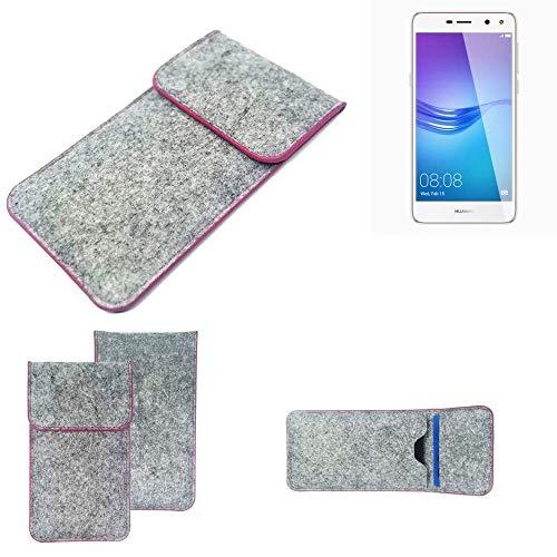 K-S-Trade® Filz Schutz Hülle Für -Huawei Y6 (2017) Single SIM- Schutzhülle Filztasche Pouch Tasche Case Sleeve Handyhülle Filzhülle Hellgrau Pinker Rand