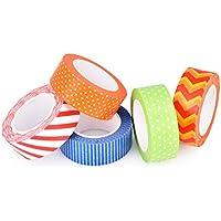 DSstyles 5 Piezas 10M Adhesivo Creativo Reposicionable Scrapbooking Craft Stripes Dots DIY Japonés Masking Tapes Decorativo Sticky Washi Cinta Colección Set - Set B