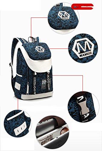 Keshi Leinwand neuer Stil Rucksack Retro Rucksack Vintage für Outdoor Camping Picknick Außflug Sports Universität Rucksack Black Weiß