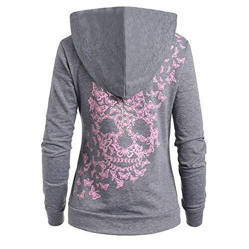Junjie Damenmode Schmetterlinge Skull Print Mit Kapuze Hoodie Kangaroo Pocket Hooded Sweatshirt Pink, Grau, Rot, Himmelblau, Dunkelgrau, Lila