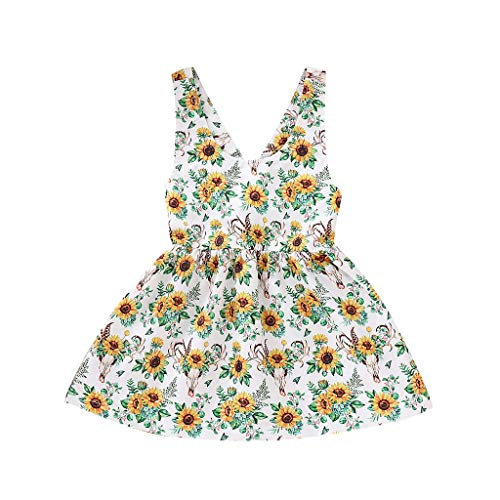 squarex Sommer Baby Kind Mädchen Kleinkind Sunflower Print Kleid Sleeveless Sling Rock Party Kleid Prinzessin Kleider Casual Rock Kleidung