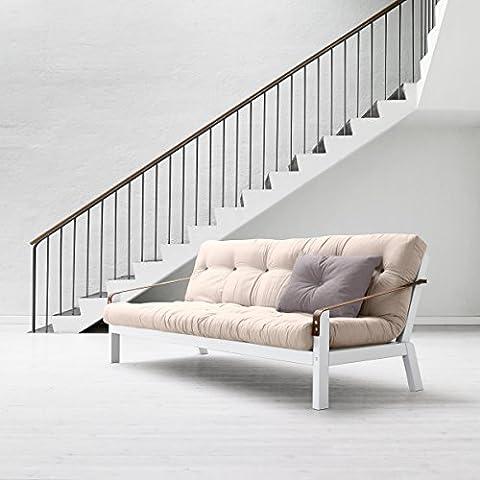KARUP - POETRY, divano letto composto da futon ecru su struttura in legno tinto bianco