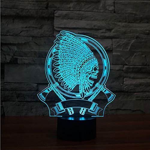 Mbambm Kreative 3D Vision Geschenke Indische Kopfschmuck Schädel Form Leuchte Usb Lampe Führte Schreibtischlampe 7 Bunte Schlafzimmer ()