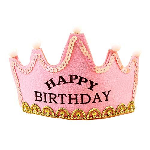 1 stück kinder alles gute zum geburtstag krone mit led leuchten party hüte helle geburtstag party könig königliche krone für kinder erwachsene