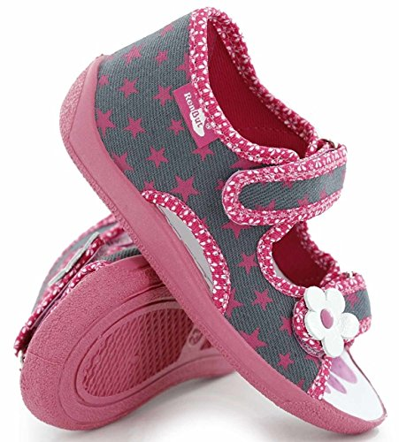 xKids Kinder Hausschuhe Mädchen Jungen Sandalen Sandalen Modell Malaga und Florence Grau/rosa Sternchen