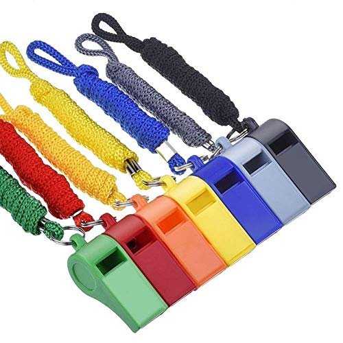 Giveet Coaches Referee Whistles with Lanyards, 7 Colorful Plastic for Indoor Outside Party Football Basketball Sports Lifeguards Survival Emergency Training - Multi-Color