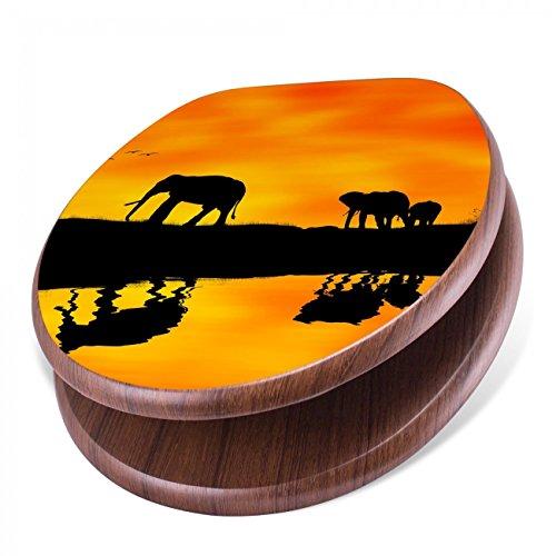 BANJADO Design Toilettensitz mit Absenkautomatik, WC-Sitz Holz, Klodeckel mit Metall Scharnieren, Toilettendeckel mit Motiv Afrika