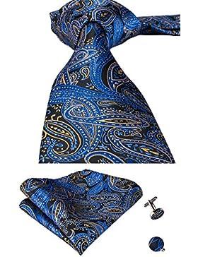 Corbata de seda azul y gemelos para bodas