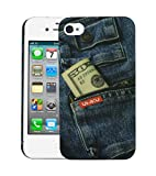 Heartly Jeans Style Printed Design High Quality Hard Bumper Back Case Cover For Apple iPhone 4 4S 4G - Cash Pocket