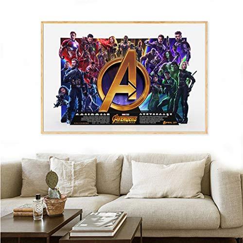 taoyuemaoyi Stampa su Tela Avengers Infinity War Personaggi Ultima Cena Poster Immagini A Parete per Soggiorno Decorazione Film Pittura Marvel 40 * 60Cm