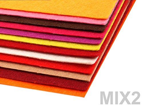 Preisvergleich Produktbild BUSDUGA 486090 Dekorativer Bastelfilz 20x30cm DIN A4 - 290g/qm - Stärke 1,5-2mm - 12 Bögen - verschiedene Farbmixe oder pur Farben wählbar (2MIX)